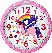 Childrens Unicorn Rainbow Time Teacher Quartz Wall