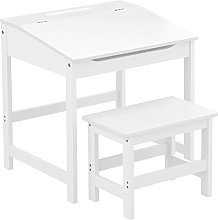 CHILDRENS WHITE DESK AND CHAIR SET