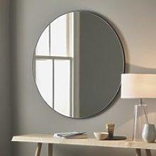 Chiltern Thin Metal Round Mirror, Black, One Size