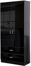 Chilton Black High Gloss 2 Door 2 Drawer