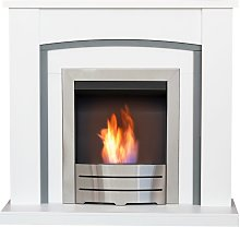Chilton Fireplace in Pure White & Grey with