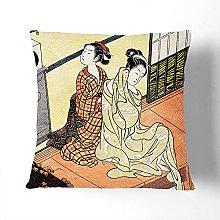 Chime of the Clock by Harunobu Suzuki Cushion and