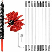 Chimney Flue Cleaning Rod Sweep Sweeping Brush Set