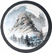 Chinese Landscape Painting Solid Kitchen Cabinet