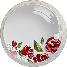 Chinese Painting Roses 1.18 Inch Kitchen Cabinet