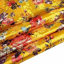 Chinese Peony Flower Satin Jacquard Brocade Fabric
