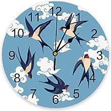 Chinese Style Auspicious Clouds Swallow Wall Clock