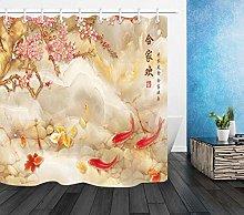 不适用 Chinese Style Flower Koi Shower Curtain