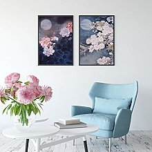 Chinese Style Retro Peony Flower Peach Blue Night