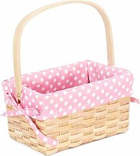 Chipwood Swing Handle Basket with Pink Lining
