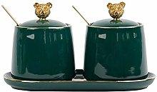 CHL Nordic Green Ceramic Seasoning Jar Set Kitchen