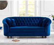 Chloe Chesterfield Blue Plush Fabric Three-Seater