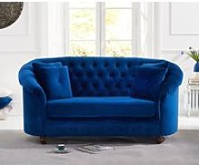 Chloe Chesterfield Blue Plush Fabric Two-Seater