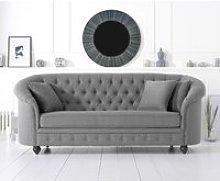 Chloe Chesterfield Grey Linen Fabric Three-Seater