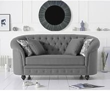 Chloe Chesterfield Grey Linen Fabric Two-Seater