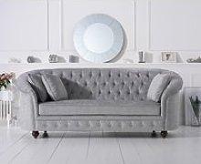 Chloe Chesterfield Grey Plush Fabric Three-Seater