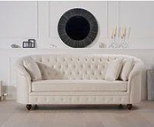 Chloe Chesterfield Ivory Linen Fabric Three-Seater