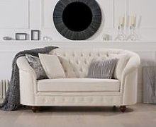 Chloe Chesterfield Ivory Linen Fabric Two-Seater