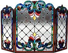 Chloe Tiffany-Glass Fireplace Screen, Multicolor,