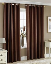CHOCOLATE BROWN FAUX SILK LINED CURTAINS WITH