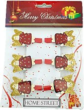Christmas Angel Wooden Pegs In A Pack Of 6 With