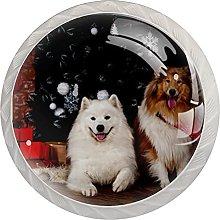 Christmas Animal Dog Set of 4 Kitchen Knobs for