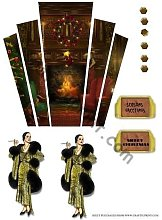 Christmas Art Deco Lady in Fur by Fireplace by
