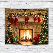 Christmas Backdrop Wall Fireplace Tapestry Tree