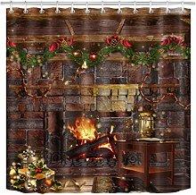 Christmas Balls Gifts Fireplace Fabric Shower