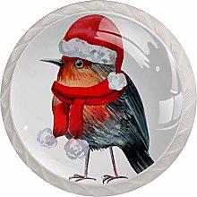 Christmas Bird 4pcs Glass Cupboard Wardrobe