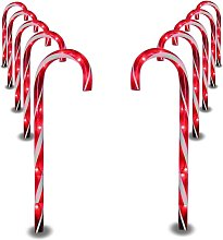 Christmas Candy Cane Pathway Marker Lights,10 Pack
