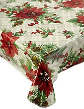 Christmas Checked & Poinsettia PVC Tablecloth