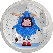 Christmas Cow 4 PCs Crystal Glass knobs in