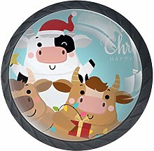 Christmas Cow Black Crystal Glass Round Cabinet