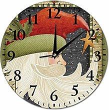 Christmas Crescent Moon Santa Wall Clock Silent
