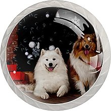 Christmas Cute Dog Puppy Pet 4 PCs Kitchen Cabinet