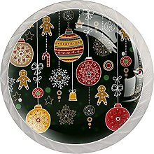 Christmas Decor Pattern 4 Pack Glass Cabinet Knobs