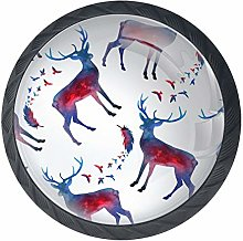 Christmas Deer Black Crystal Glass Round Cabinet