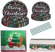 Christmas Disposable Dinnerware Set, 86 Pieces