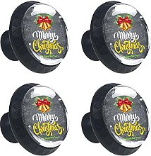 Christmas Elements Bell with Black Background 4PCS