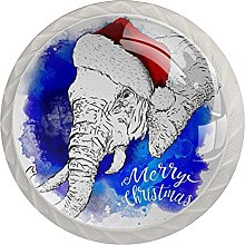Christmas Elephant 4 Pieces Glass Knobs for