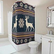 Christmas Elk Snowflake Shower Curtain Anti-Mould