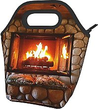 Christmas Fireplace New Year Printed Insulated