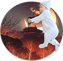Christmas flame elk, Printed Round Rug for Kids