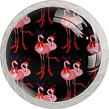 Christmas Flamingo 4 Pack Kitchen Cabinet Knobs