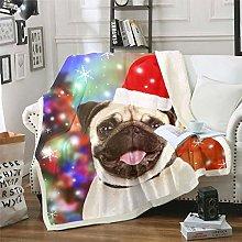 Christmas Fleece Throw Blanket Christmas Pug Dog