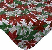 Christmas Floral Poinsettia PVC Tablecloth Flannel