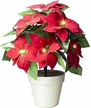 Christmas Flower Artificial Red Poinsettia Light