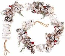 Christmas Garland 150cm White Pine Cone Festive