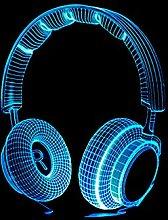Christmas Gift 3D Night Light Music Headphones Led